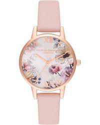 Olivia Burton - Sunlight Florals Leather Strap Watch - Lyst
