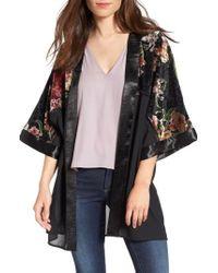 Love, Fire - Burnout Floral Kimono - Lyst