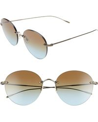 Oliver Peoples - Coliena 57mm Round Sunglasses - Antique Gold/ Azure Brown - Lyst