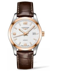 Longines - Conquest Classic Automatic Leather Strap Watch - Lyst