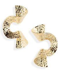 Cara - Hammered Metal Swirl Earrings - Lyst