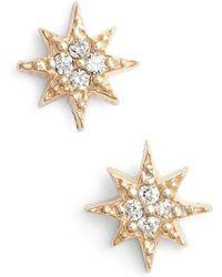 Anzie - Mini Starburst Diamond Earrings - Lyst