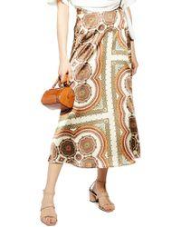 3ab72a179e TOPSHOP - Paisley Print Satin Wrap Maxi Skirt - Lyst