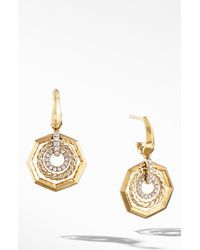 David Yurman - Stax Drop Earrings With Diamonds In 18k Gold - Lyst
