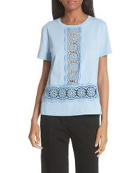 Sandro - Lace Inset Cotton Top - Lyst