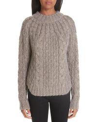 Saint Laurent - Metallic Cable Knit Sweater - Lyst