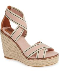 125ca4254 Lyst - Tory Burch Colorblock Wooden-wedge Leather Mule Sandals