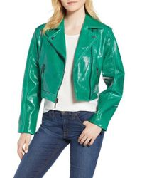 Kenneth Cole - Kenneth Cole Crop Patent Leather Moto Jacket - Lyst