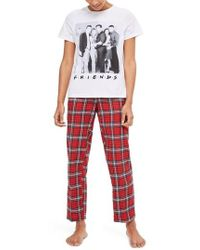 TOPSHOP - Friends Long Checkered Pajamas - Lyst