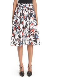 Jason Wu - Bird Of Paradise Print Cotton Poplin Skirt - Lyst