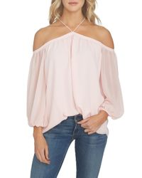 1.STATE - Off The Shoulder Sheer Chiffon Blouse - Lyst