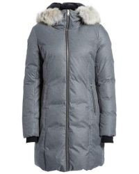 SOIA & KYO - Hooded Down Coat With Removable Genuine Coyote Fur Trim - Lyst