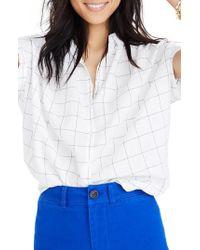 Madewell - Central Windowpane Tie Sleeve Shirt - Lyst