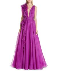 Marchesa - Couture Plunging V Neck Silk Organza Evening Gown - Lyst