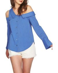 1.STATE   Mixed Stripe One-shoulder Top   Lyst