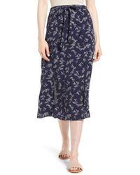 Hinge - Print Tie Front Midi Skirt - Lyst