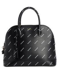Balenciaga - Allover Logo Leather Dome Satchel - Lyst