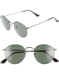 49051c6eeb3c Ray-Ban - Icons 50mm Round Metal Sunglasses - Gunmetal/ Green Solid - Lyst