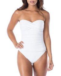 La Blanca - Twist Front Bandeau One-piece Swimsuit - Lyst
