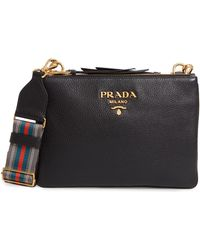 5eca876153cb Prada - Vitello Daino Double Compartment Leather Crossbody Bag - Lyst