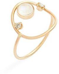 Zoe Chicco - Moonstone & Diamond Open Circle Ring - Lyst