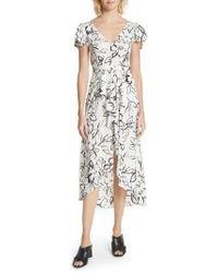 Tracy Reese - Floral Stretch Silk Midi Dress - Lyst