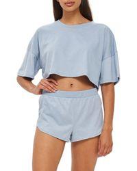 TOPSHOP - Jersey Crop Pajamas - Lyst