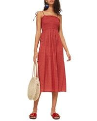 TOPSHOP - Ditzy Shirred Swim Cover-up - Lyst