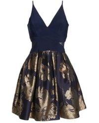 Xscape - Deep-v Brocade Party Dress - Lyst
