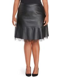 REBEL WILSON X ANGELS - Faux Leather Pleated Skirt With Lace - Lyst