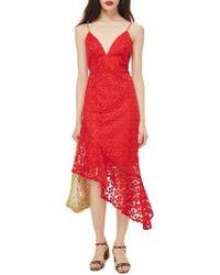 TOPSHOP - Lace Plunge Asymmetrical Dress - Lyst