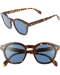 Oliver Peoples - Boudreau L.a. 48mm Round Sunglasses - Dark Mahogany - Lyst