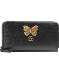 c34aad9b0d9e Gucci - Leather Zip Around Wallet With Bow - Lyst