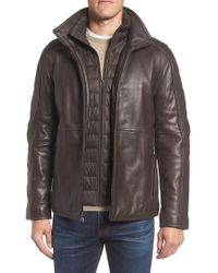Marc New York - Hartz Leather Jacket With Quilted Bib - Lyst