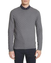 Emporio Armani - Slim Fit Woven Links Sweater - Lyst