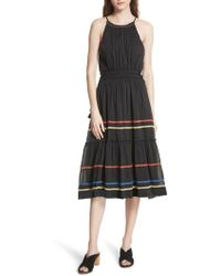 Joie - Danit Embroidered Stripe Cotton & Silk Dress - Lyst