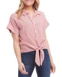 Karen Kane Stripe Tie Front Top - Red