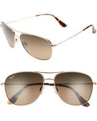 e68a7ccd47d8f Maui Jim - Cliff House 59mm Polarizedplus2 Metal Aviator Sunglasses - - Lyst