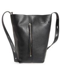 Kara - Pebbled Leather Panel Pail Convertible Leather Bucket Bag - Lyst