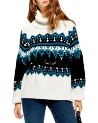 TOPSHOP - Sequin Oversize Fair Isle Sweater - Lyst