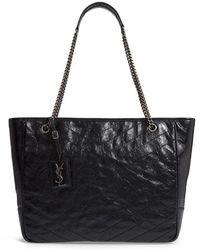 Saint Laurent - Large Niki Calfskin Leather Shopper - - Lyst