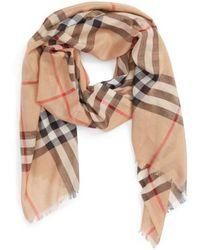 Burberry - Giant Check Print Wool & Silk Scarf - Lyst