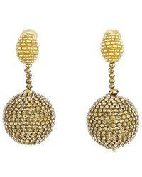 Oscar de la Renta - Beaded Drop Clip Earrings - Lyst