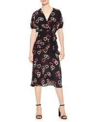 Sandro - Floral Hearts Silk Dress - Lyst