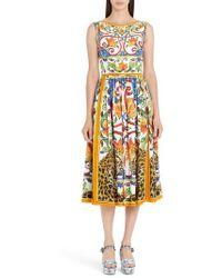 Dolce & Gabbana - Maiolica Print Fit & Flare Dress - Lyst