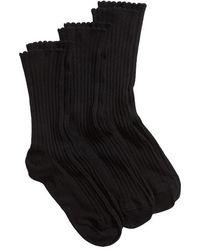 Hue - 3-pack Scalloped Rib Socks, Black - Lyst