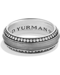 David Yurman - 'meteorite' Knife-edge Band Ring With Grey Sapphires - Lyst