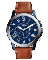 Fossil - 'grant' Round Chronograph Leather Strap Watch - Lyst