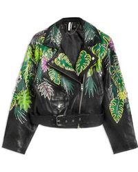 TOPSHOP - Jungle Embellished Leather Moto Jacket - Lyst