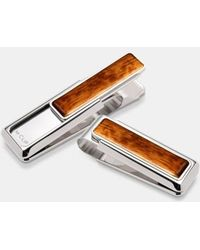 M-clip - M-clip Wood Inlay Money Clip - Metallic - Lyst